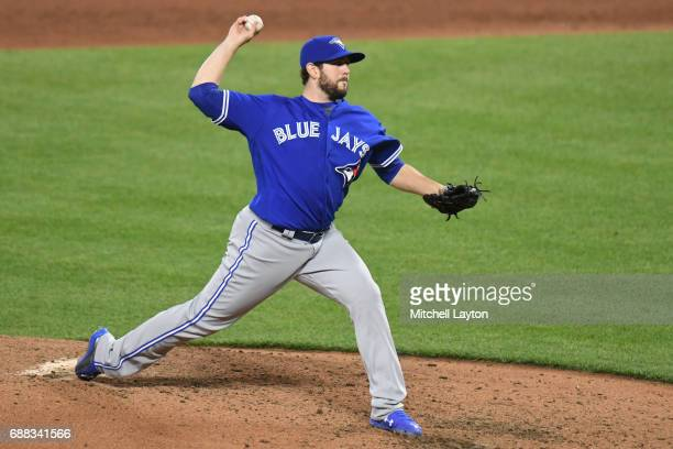 Dominic Leone of the Toronto Blue Jays pitches during a baseball game against the Baltimore Orioles at Oriole Park at Camden Yards on May 20 2017 in...