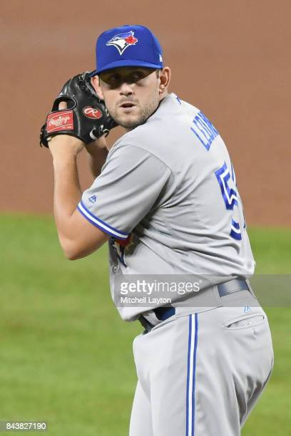 Dominic Leone of the Toronto Blue Jays pitches during a baseball game against the Baltimore Orioles at Oriole Park at Camden Yards on September 2...