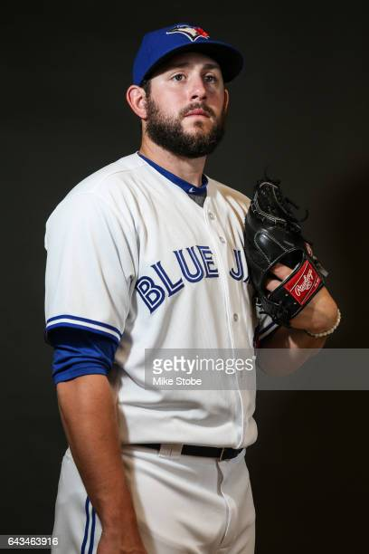 Dominic Leone of the Toronto Blue Jays poses for a portait during a MLB photo day at Florida Auto Exchange Stadium on February 21 2017 in Dunedin...