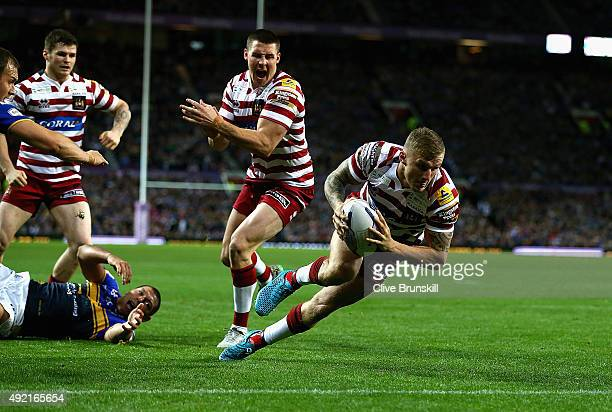 Dominic Manfredi of the Wigan Warriors scores his teams second try during the First Utility Super League Grand Final between Wigan Warriors and Leeds...