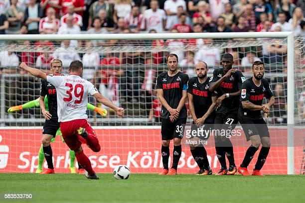 Dominic Maroh Anthony Modeste Konstantin Rausch and Matthias Lehmann of FC Koeln is challenged by Maik Kegel of Fortuna Koeln during the preseason...