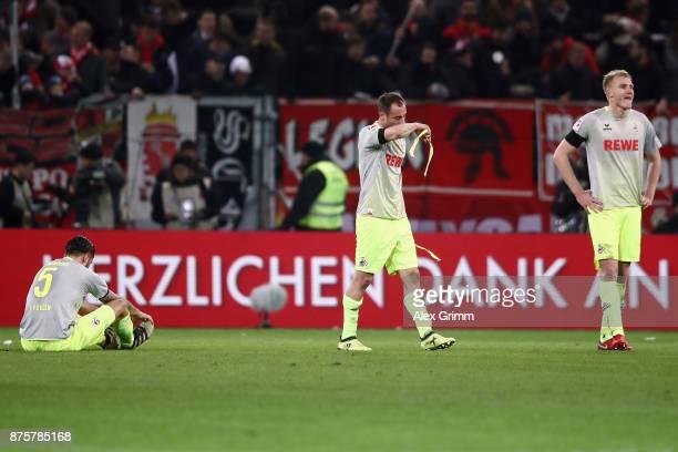 Dominic Maroh Matthias Lehmann and Frederik Soerensen of Koeln react after the Bundesliga match between 1 FSV Mainz 05 and 1 FC Koeln at Opel Arena...