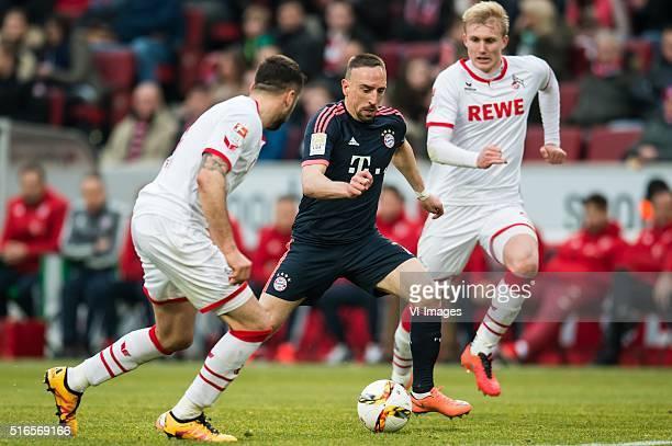 Dominic Maroh of 1FC Koln Franck Ribery of Bayern Munich Frederik Sorensen of 1FC Koln during the Bundesliga match between 1 FC Koln and FC Bayern...