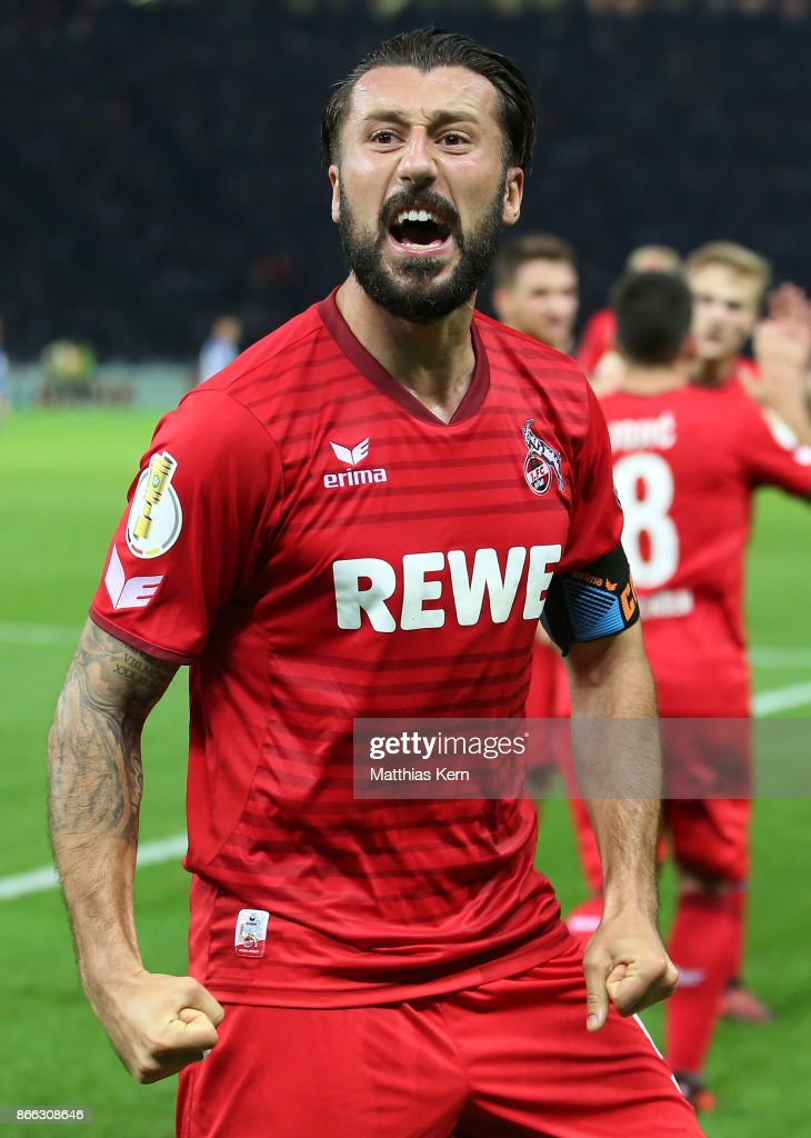 Dominic Maroh of Koeln jubilates after scoring the second goal during the DFB Cup match between Hertha BSC and 1. FC Koeln at Olympiastadion on October 25, 2017 in Berlin, Germany.