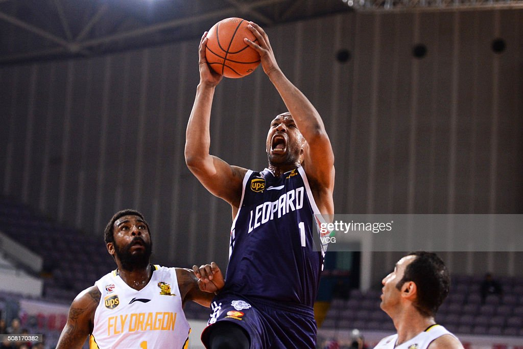 Dominic McGuire of Shenzhen Leopard shoots the ball during the 37th round of the Chinese Basketball Association 15/16 game between Beikong Fly...