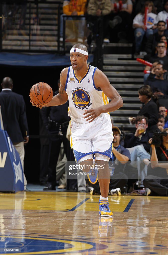 Dominic McGuire of the Golden State Warriors brings the ball up the court against the Los Angeles Lakers on April 18 2012 at Oracle Arena in Oakland...