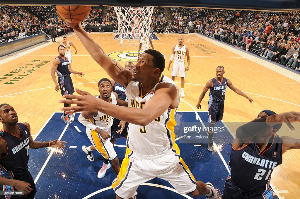 Dominic McGuire of the Indiana Pacers goes to the basket during the game between the Indiana Pacers and the Charlotte Bobcats on January 12 2013 at...