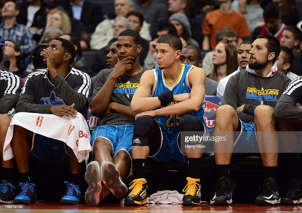Dominic McGuire #5 of the New Orleans Hornets and his bench watch a 93-77 Los Angeles Clipper victory for their 11th straight win at Staples Center on December 19, 2012 in Los Angeles, California.
