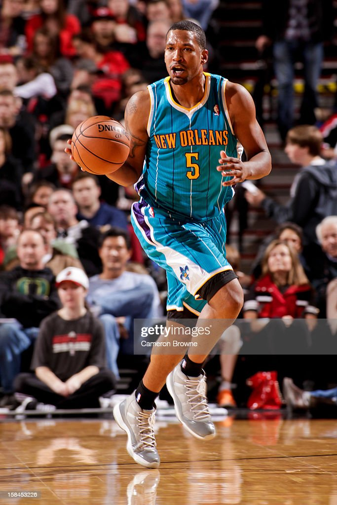 Dominic McGuire #5 of the New Orleans Hornets brings the ball up court against the Portland Trail Blazers on December 16, 2012 at the Rose Garden Arena in Portland, Oregon.