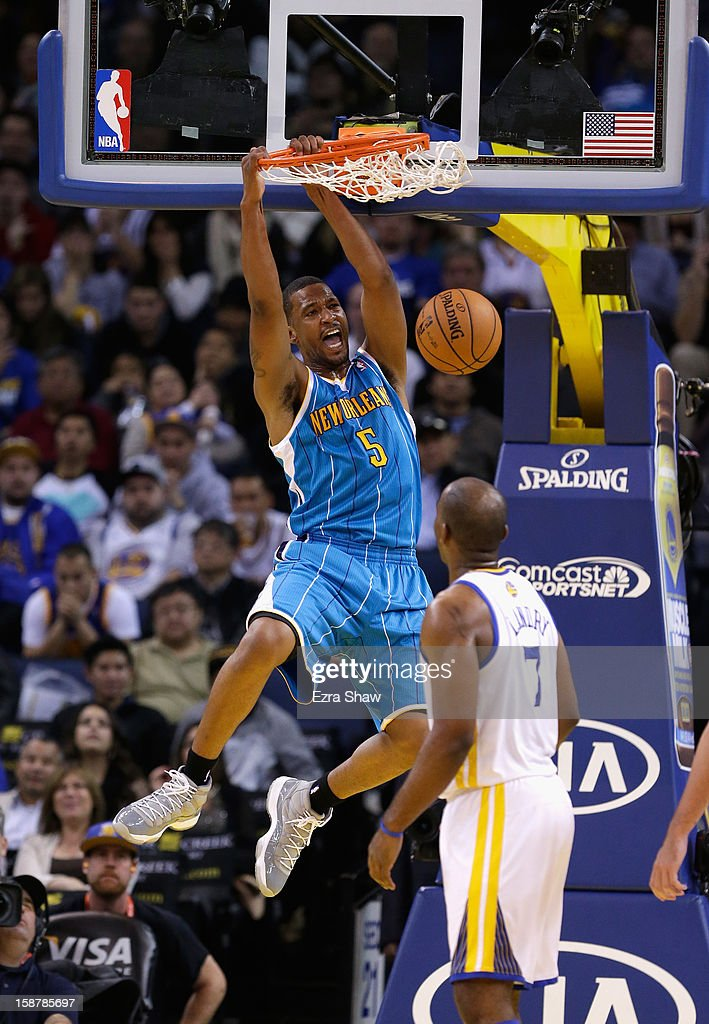 Dominic McGuire of the New Orleans Hornets dunks during their game against the Golden State Warriors at Oracle Arena on December 18 2012 in Oakland...