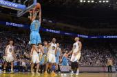 Dominic McGuire of the New Orleans Hornets goes up for the dunk against the Golden State Warriors on December 18 2012 at Oracle Arena in Oakland...