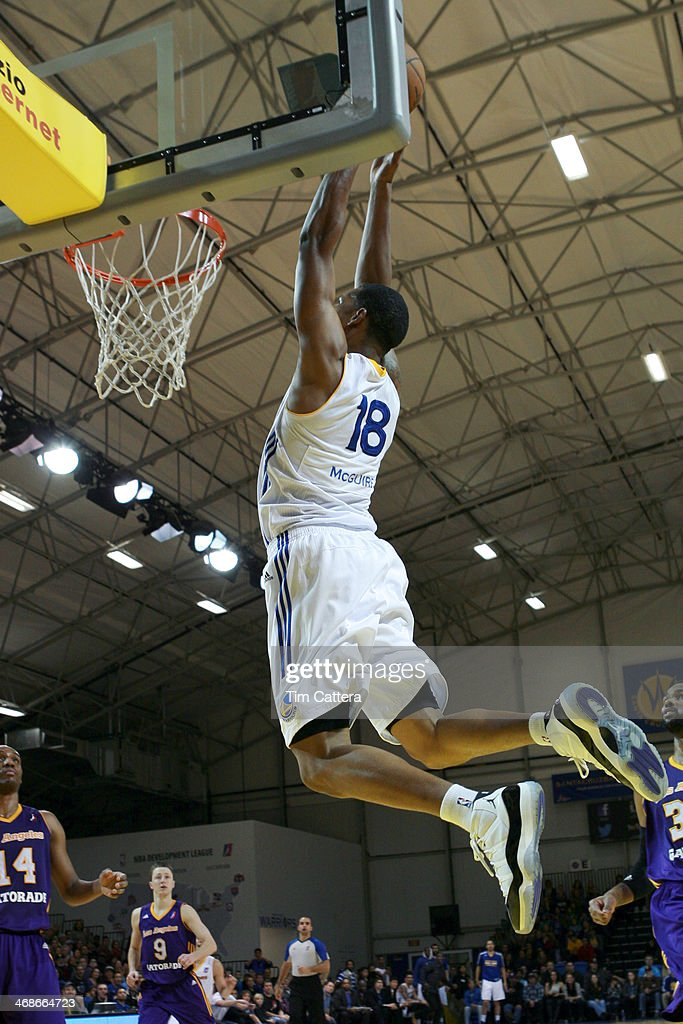 Dominic McGuire of the Santa Cruz Warriors attempts to dunk the ball against the Los Angeles Defenders on February 8 2014 at Kaiser Permanente Arena...