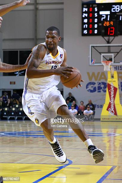 Dominic McGuire of the Santa Cruz Warriors drives to the basket against the Maine Red Claws on January 10 2014 at Kaiser Permanente Arena in Santa...