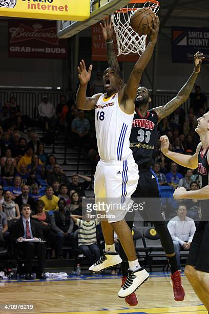 Dominic McGuire of the Santa Cruz Warriors shoots a layup against Willie Reed of the Springfield Armor on February 20 2014 at Kaiser Permanente Arena...