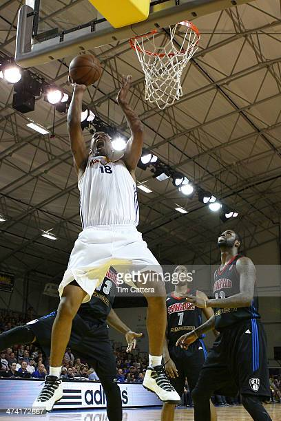 Dominic McGuire of the Santa Cruz Warriors shoots a layup against the Springfield Armor on February 21 2014 at Kaiser Permanente Arena in Santa Cruz...