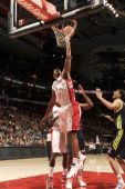 Dominic McGuire of the Toronto Raptors lays the ball up during the game between the Real Madrid and the Toronto Raptors on October 8 2012 at the Air...