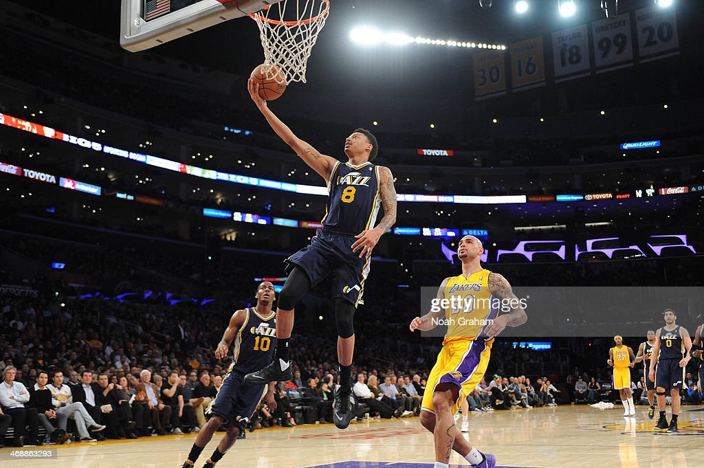 Dominic McGuire of the Utah Jazz goes up for a shot against the Los Angeles Lakers at Staples Center on February 11 2014 in Los Angeles California...