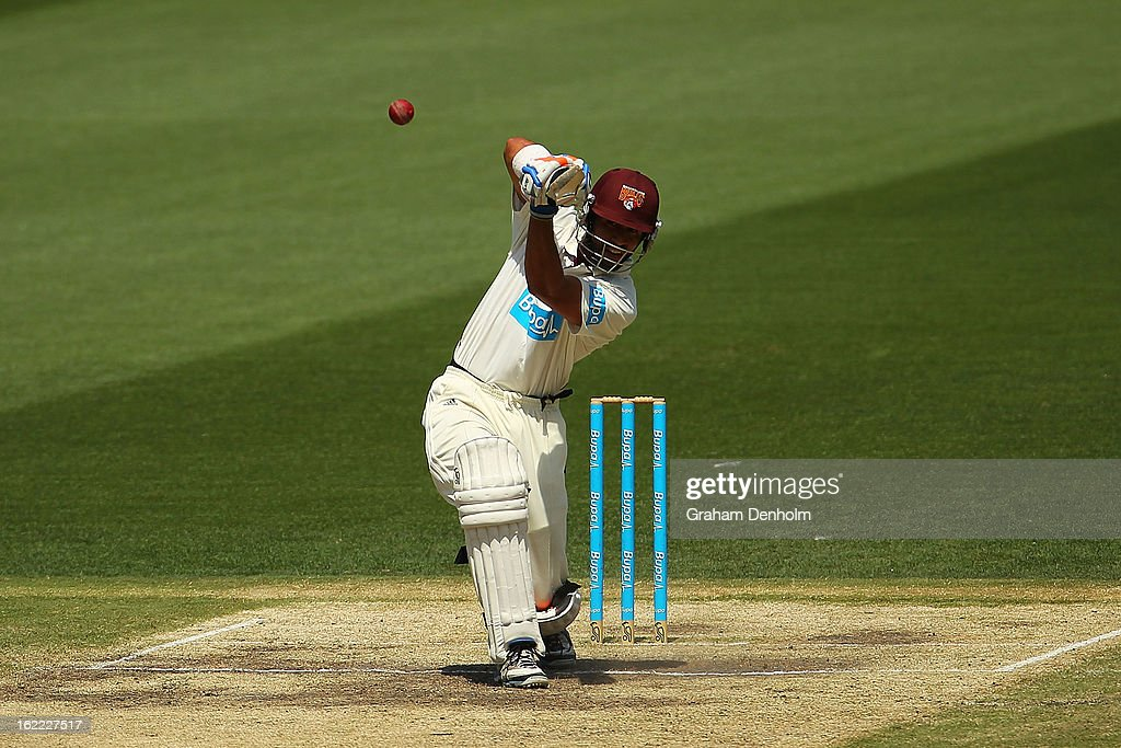 Dominic Michael of the Bulls bats during day four of the Sheffield Shield match between the Victorian Bushrangers and the Queensland Bulls at Melbourne Cricket Ground on February 21, 2013 in Melbourne, Australia.