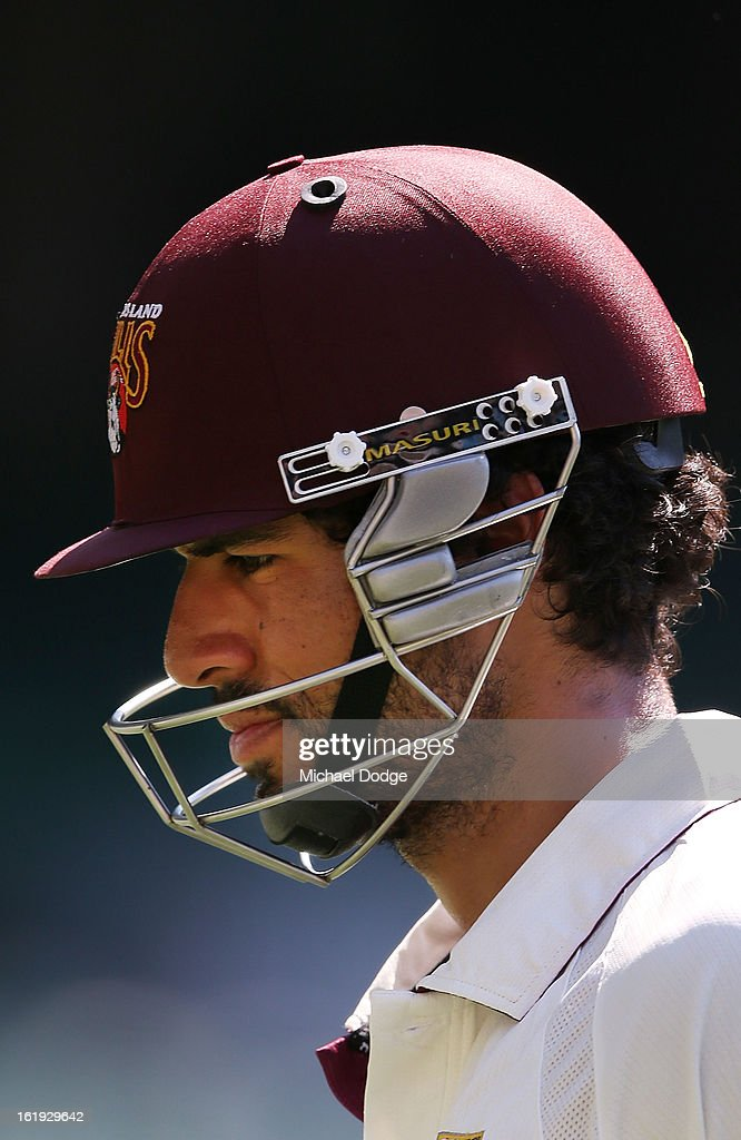 Dominic Michael of the Queensland Bulls reacts after being dismissed during day one of the Sheffield Shield match between the Victorian Bushrangers and the Queensland Bulls at Melbourne Cricket Ground on February 18, 2013 in Melbourne, Australia.