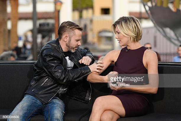 Dominic Monaghan and Charissa Thompson visit 'Extra' at Universal Studios Hollywood on January 22 2016 in Universal City California