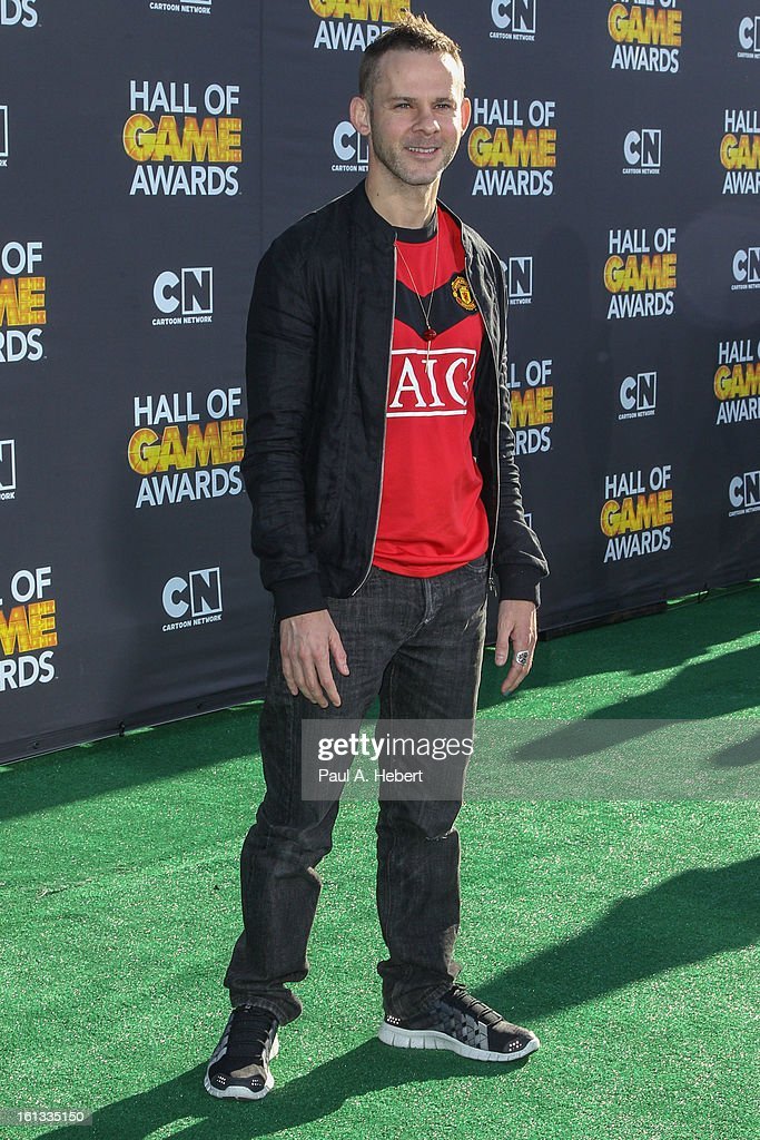 <a gi-track='captionPersonalityLinkClicked' href=/galleries/search?phrase=Dominic+Monaghan&family=editorial&specificpeople=209279 ng-click='$event.stopPropagation()'>Dominic Monaghan</a> arrives at the 3rd Annual Cartoon Network's 'Hall Of Game' Awards held at Barker Hangar on February 9, 2013 in Santa Monica, California.