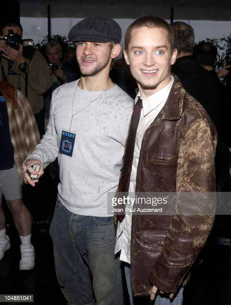 Dominic Monaghan Elijah Wood during The Launch of the Air New Zealand/Lord of the Rings Frodo Airplane at LAX in Los Angeles California United States