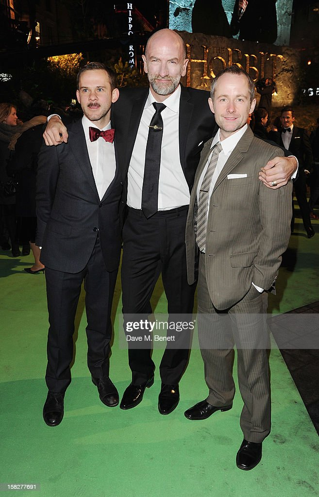 Dominic Monaghan, Graham McTavish and Billy Boyd attends the Royal Film Performance of 'The Hobbit: An Unexpected Journey' at Odeon Leicester Square on December 12, 2012 in London, England.
