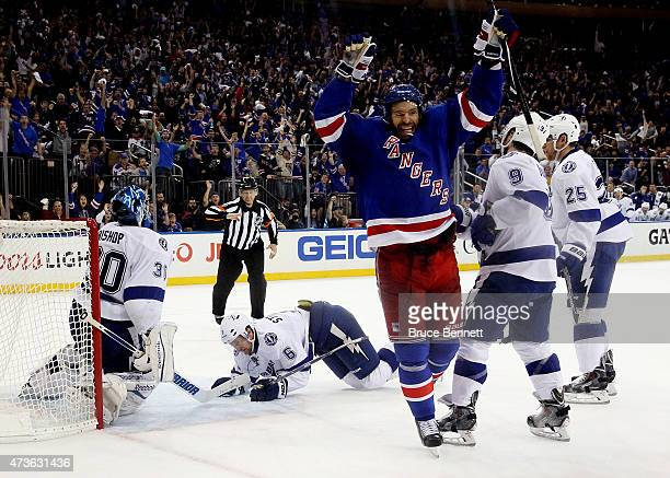 Dominic Moore of the New York Rangers celebrates after scoring the gamewinning goal in the third period against the Tampa Bay Lightning in Game One...