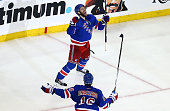 Dominic Moore of the New York Rangers celebrates scoring the gamewinning goal in the third period against the Tampa Bay Lightning in Game One of the...