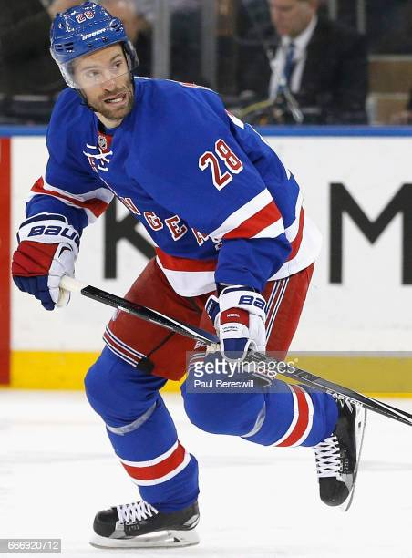 Dominic Moore of the New York Rangers plays against the Florida Panthers at Madison Square Garden on March 21 2016 in New York New York