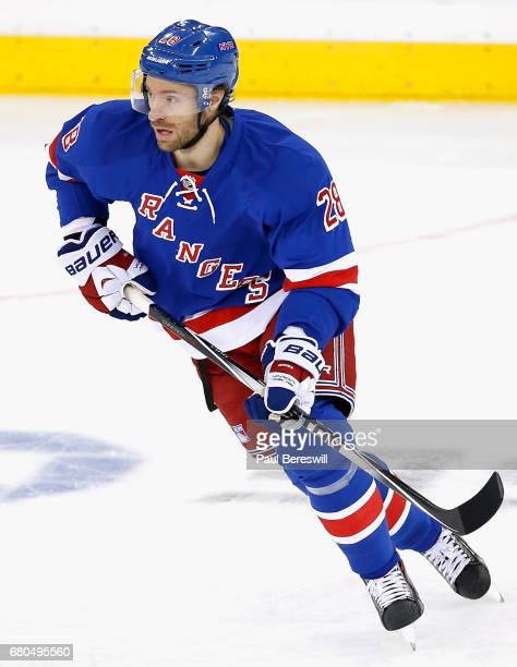 Dominic Moore of the New York Rangers plays in the game against the Colorado Avalanche at Madison Square Garden on November 13 2014 in New York New...