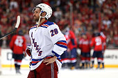 Dominic Moore of the New York Rangers reacts after losing to the Washington Capitals in Game Three of the Eastern Conference Semifinals during the...
