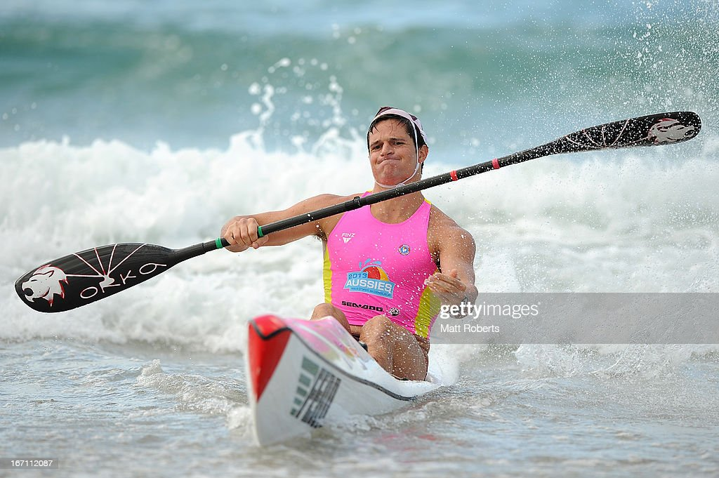 Dominic Notten of Northcliffe SLSC reacts after winning the Under 19 Single Ski final on April 21, 2013 on the Gold Coast, Australia.