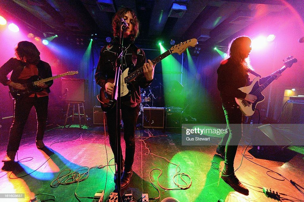 Dominic O'Dair, Tom Dougall and Maxim Barron of Toy perform on stage as part of the NME Awards series of concerts at Scala on February 12, 2013 in London, England.