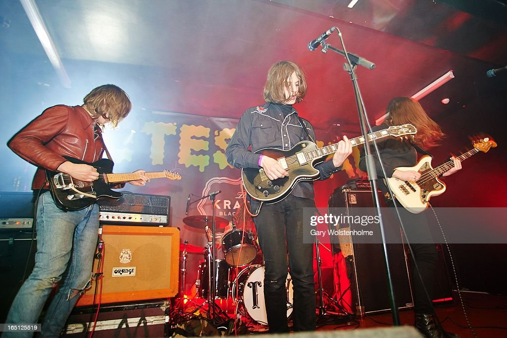 Dominic O'Dair, Tom Dougall and Maxim Barron of Toy perform on stage on Day 2 of Detestival 2013 at Queens Social Club on March 31, 2013 in Sheffield, England.