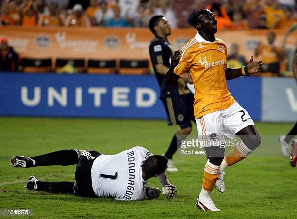 Dominic Oduro of the Houston Dynamo reacts after missing a wide open net as goalkeeper Faryd Mondragon of the Philadelphia Union was out of position...