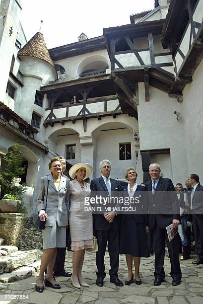 Dominic of Habsburg a New York architect and other members of his family pose for the media in the courtyard of the Bran Castle known as Dracula...