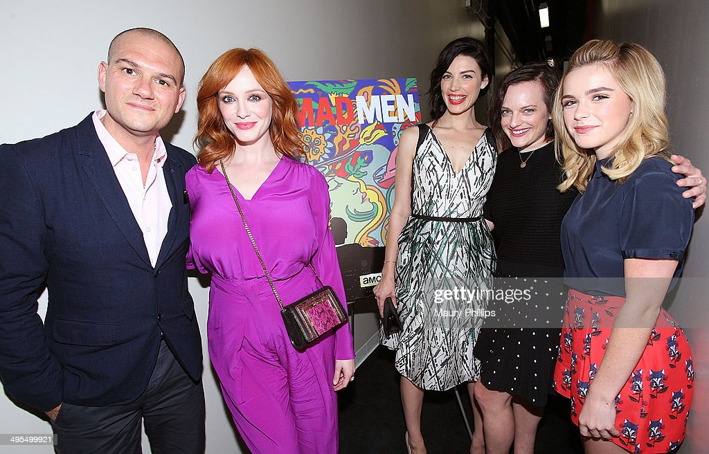 Dominic Patten, <a gi-track='captionPersonalityLinkClicked' href=/galleries/search?phrase=Christina+Hendricks&family=editorial&specificpeople=2239736 ng-click='$event.stopPropagation()'>Christina Hendricks</a>, <a gi-track='captionPersonalityLinkClicked' href=/galleries/search?phrase=Jessica+Pare&family=editorial&specificpeople=793183 ng-click='$event.stopPropagation()'>Jessica Pare</a>, <a gi-track='captionPersonalityLinkClicked' href=/galleries/search?phrase=Elisabeth+Moss&family=editorial&specificpeople=3079265 ng-click='$event.stopPropagation()'>Elisabeth Moss</a> and <a gi-track='captionPersonalityLinkClicked' href=/galleries/search?phrase=Kiernan+Shipka&family=editorial&specificpeople=5535048 ng-click='$event.stopPropagation()'>Kiernan Shipka</a> attend Awardsline/Deadline Screening of 'Mad Men' at Landmark Theatre on June 3, 2014 in Los Angeles, California.
