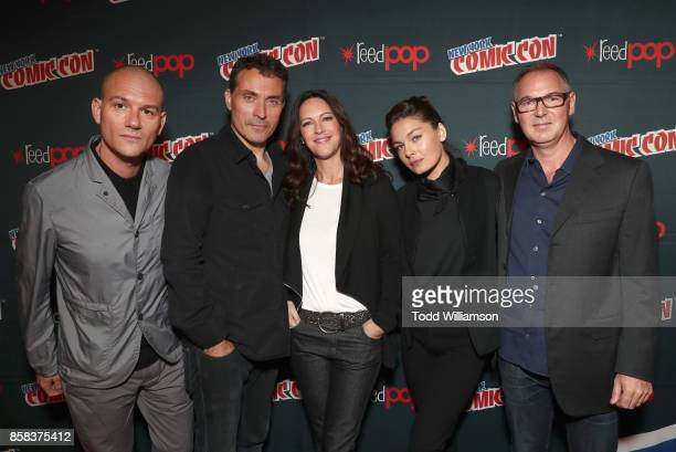 Dominic Patten Rufus Sewell Isa Dick Hackett Alexa Davalos and Dan Percival attend 'The World of Philip K Dick' The Man in the High Castle and Philip...
