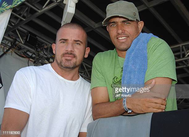 Dominic Purcell and Kelly Slater during Boost Mobile Surf Competition at The Trestles September 16 2006 in Orange County California United States