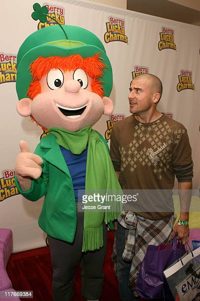 Dominic Purcell with the Berry Lucky Charms Leprechaun Photo by Jesse Grant/WireImage for Silver Spoon