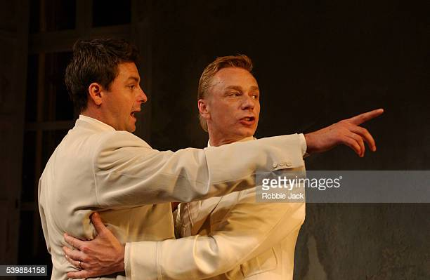 Dominic Rowan and Ben Daniels in a production of Iphigenia at Aulis by Euripides translated by Don Taylor at the Royal National Theatre London