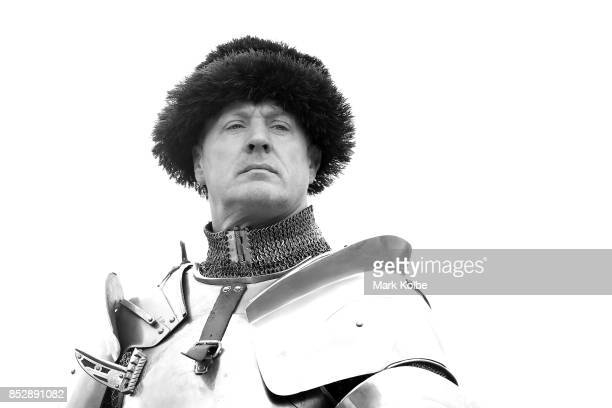 Dominic Sewell of the United Kingdom watches on as he competes in the World Jousting Championships on September 24 2017 in Sydney Australia The World...