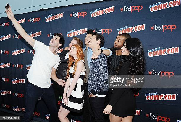Dominic Sherwood Katherine McNamara Matthew Daddario Harry Shum Jr Alberto Rosende Isaiah Mustafa and Emeraude Toubia attend the 'Shadowhunters'...