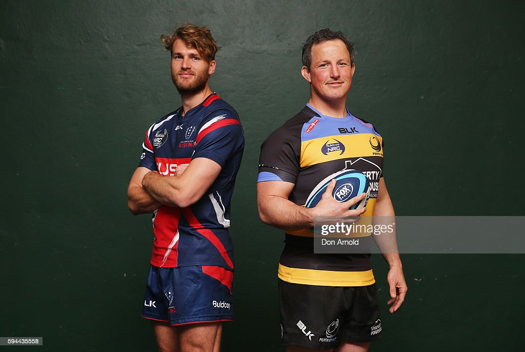 Dominic Shipperley from Melbourne Rising and Heath Tessman from Perth Spirit pose during the 2016 NRC Season Launch at Coogee Oval on August 24 2016...