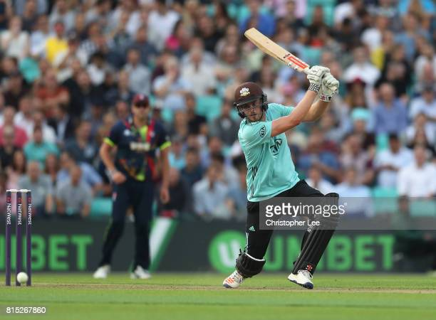 Dominic Sibley of Surrey in action during the NatWest T20 Blast match between Surrey and Kent at The Kia Oval on July 14 2017 in London England