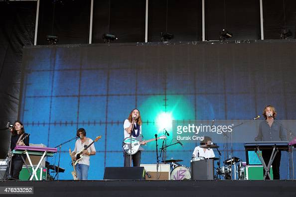 Dominic Simper Cam Avery Kevin Parker Julien Babagallo and Jay 'Gumby' Watson of Tame Impala perform on day 3 of Governors Ball festival at Randall's...