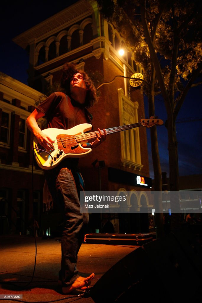 Dominic Simper of the band Tame Impala performs on stage during the St Jerome`s Laneway Festival on February 6 2009 in Perth Australia