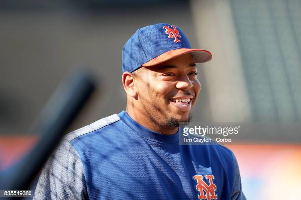 Dominic Smith of the New York Mets at batting practice before the New York Yankees Vs New York Mets regular season MLB game at Citi Field on August...