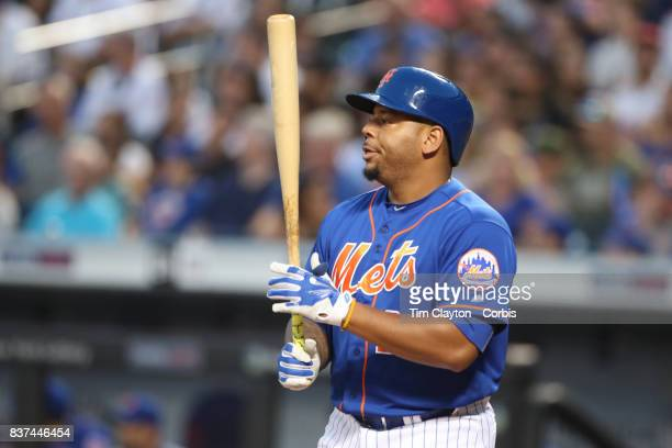 Dominic Smith of the New York Mets batting during the Miami Marlins Vs New York Mets regular season MLB game at Citi Field on August 19 2017 in New...